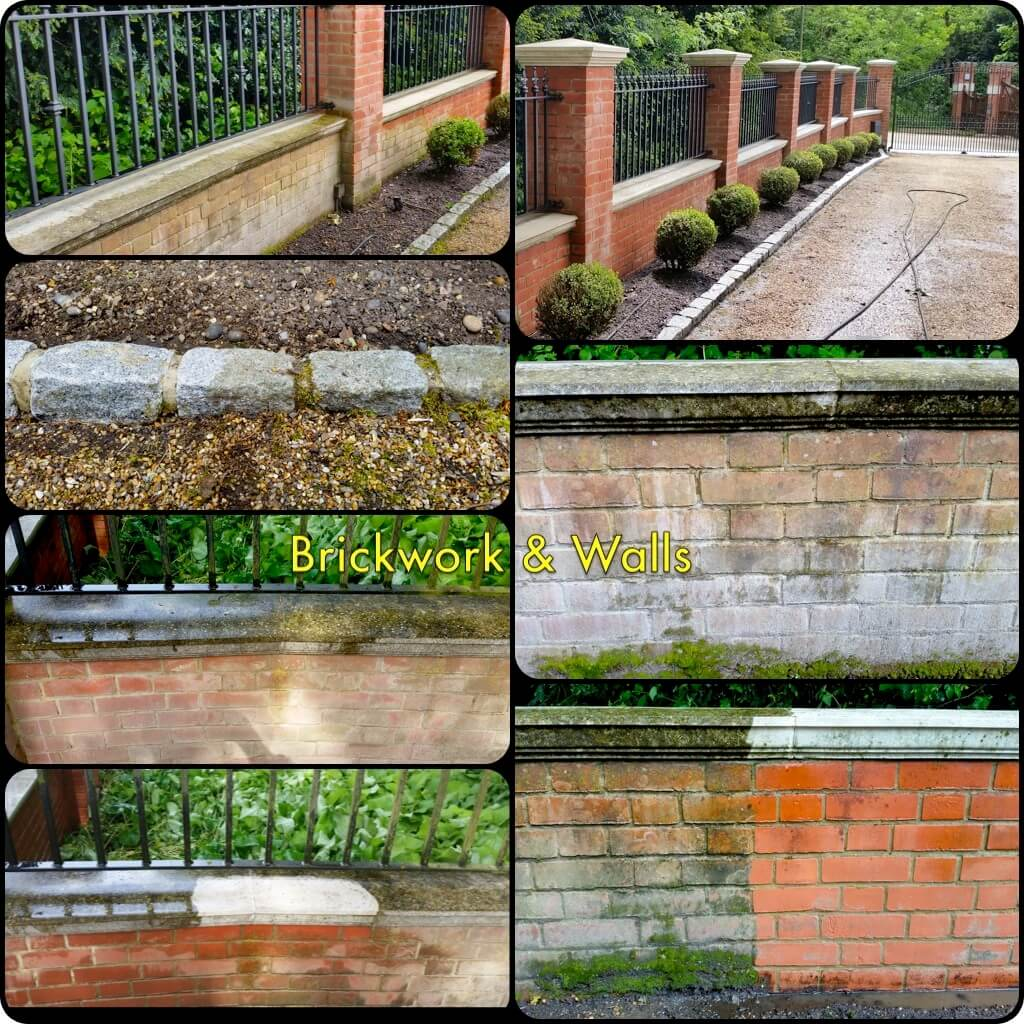 Brickwork, Walls, Railings, Stonework & Masonry. Brickwork showing signs of scale and efflorescence. Brickwork walls stonework & masonry can be quickly cleaned