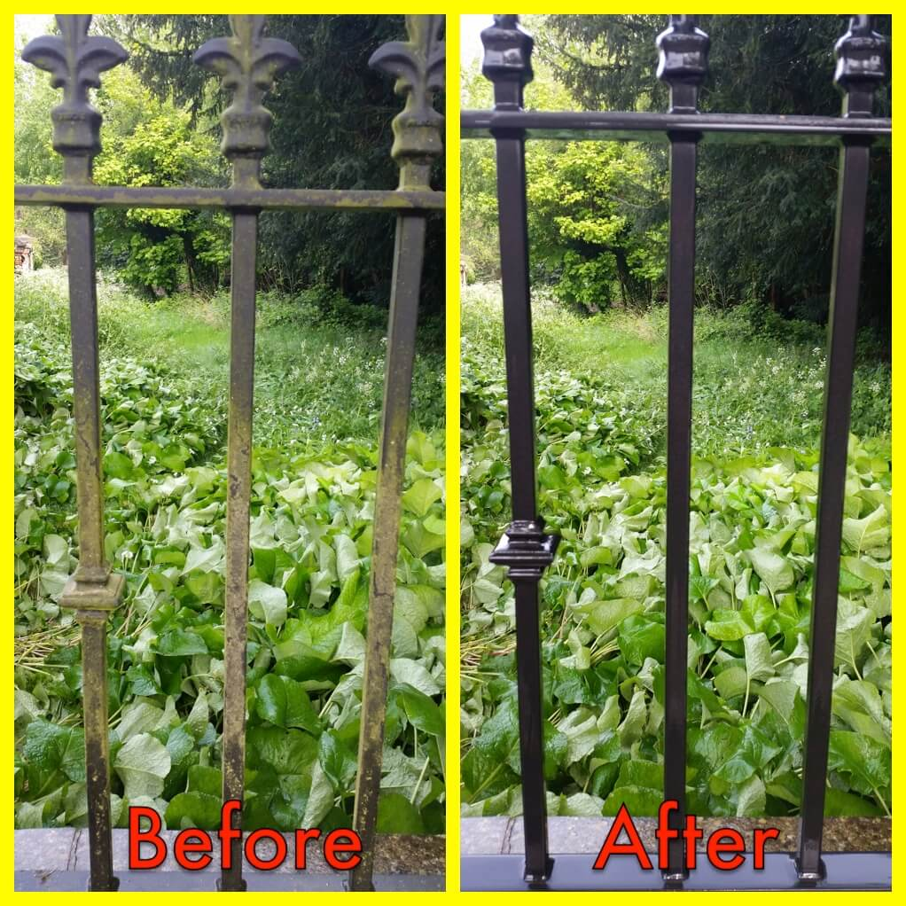 Railings can look like new after a quick blow over with a washer. All Brickwork, Walls, Railings, Stonework & Masonry will eventually succumb to the elements