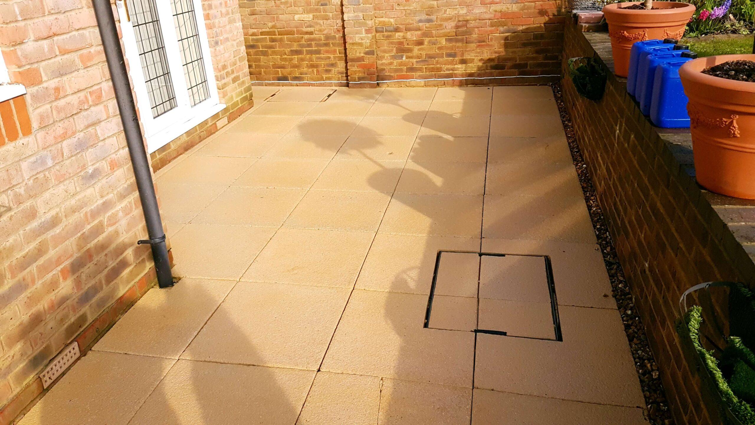 Concrete Patio Lichen Removal